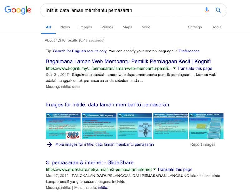 contoh hasil carian intitle dalam google
