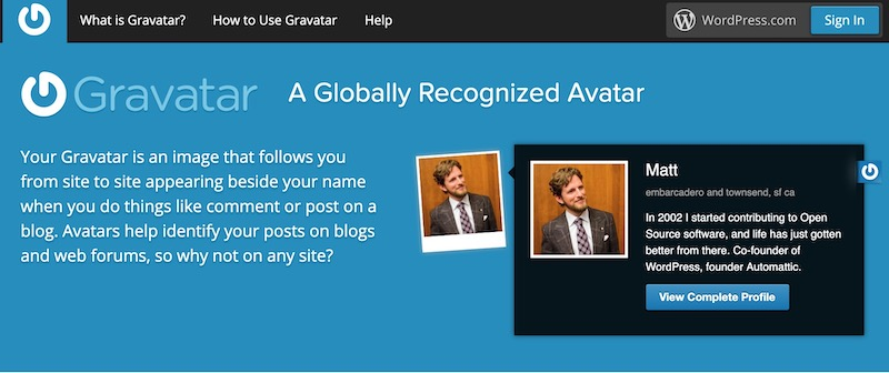 paparan muka hadapan laman gravatar.com