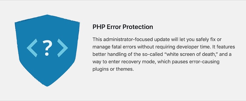 PHP error protection wordpress 5.2