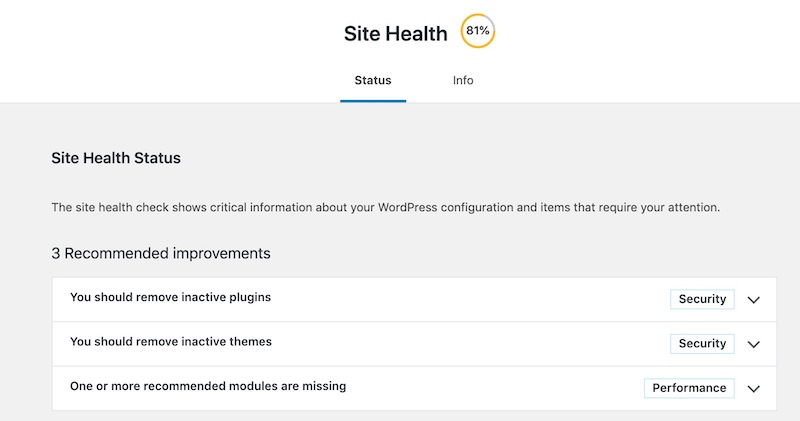 contoh paparan Site Health dalam WordPress 5.2