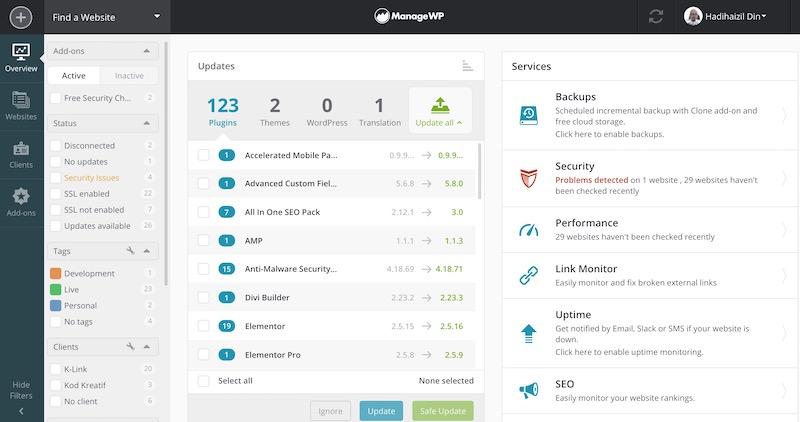 contoh paparan dashboard managewp.com