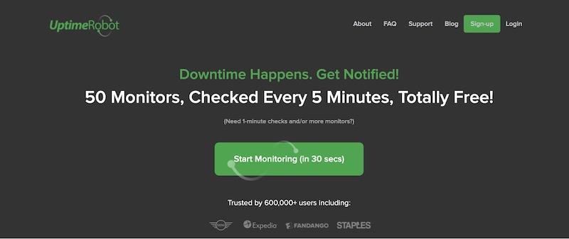 uptimerobot monitor laman setiap 5 minit secara percuma